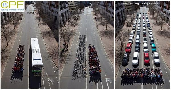 bus bike and car traffic