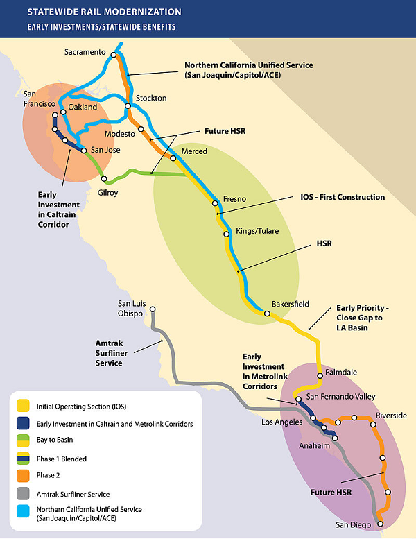 high speed rail california map